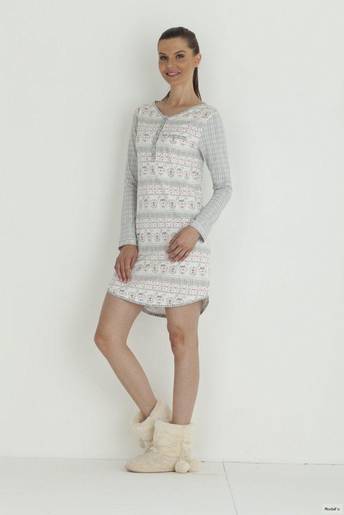 Hays Pingi Penye Bayan Uzun Kollu Gecelik – Hays | İç Giyim …