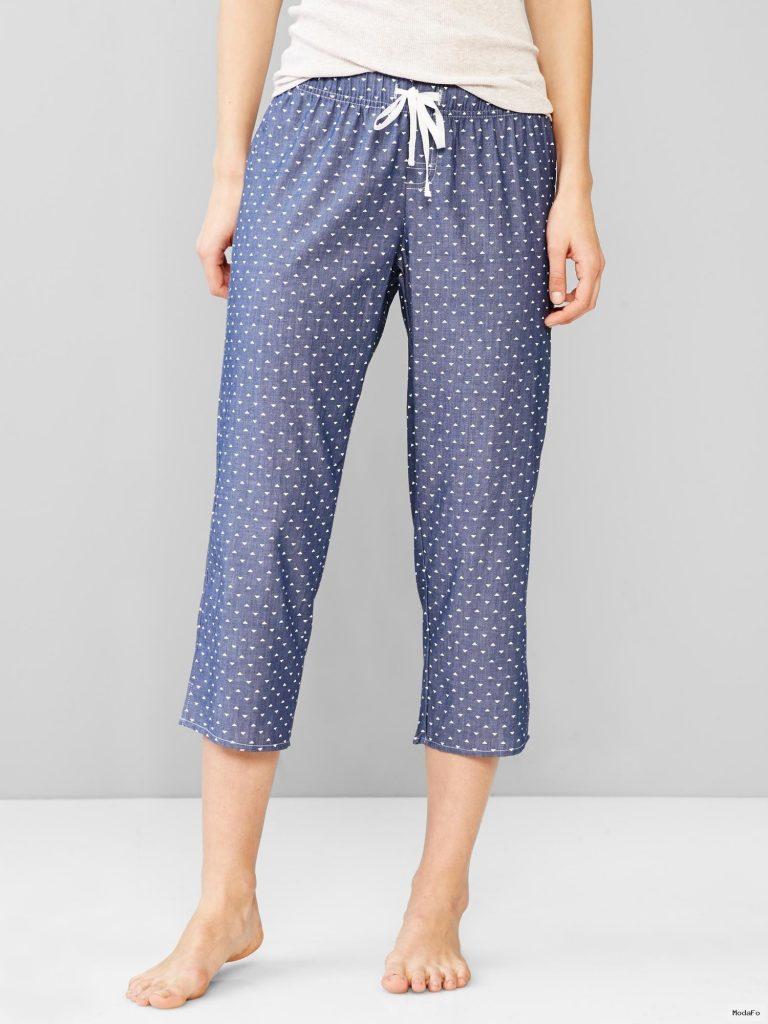 İnce denim desenli kapri pijama altı | GAP