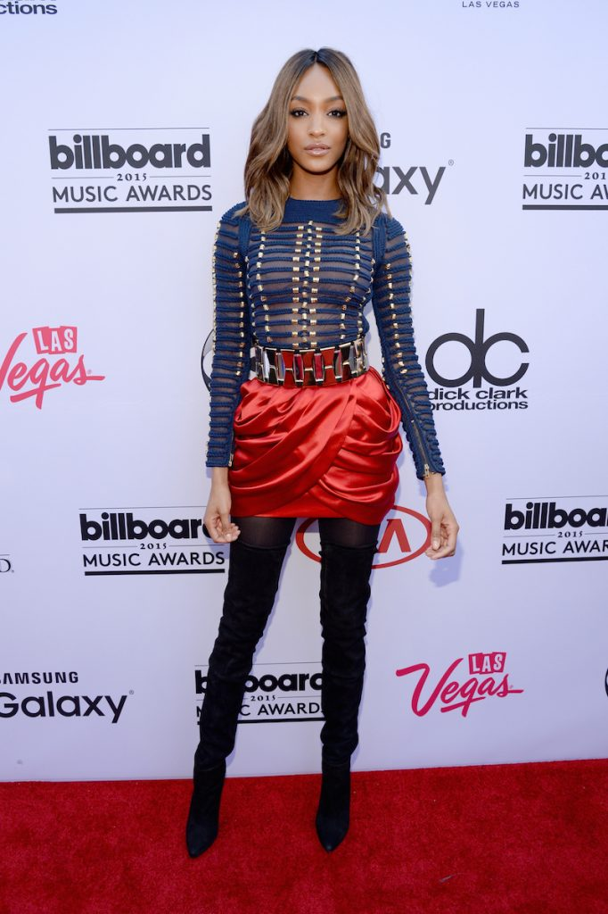 LAS VEGAS, NV - MAY 17:  Model Jourdan Dunn, wearing Balmain x H&M, attends the 2015 Billboard Music Awards at MGM Grand Garden Arena on May 17, 2015 in Las Vegas, Nevada.  (Photo by Kevin Mazur/BMA2015/WireImage)
