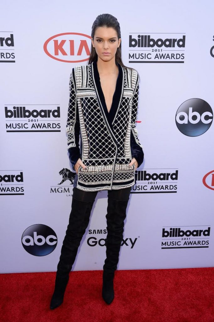 LAS VEGAS, NV - MAY 17:  TV personality Kendall Jenner, wearing Balmain x H&M, attends the 2015 Billboard Music Awards at MGM Grand Garden Arena on May 17, 2015 in Las Vegas, Nevada.  (Photo by Kevin Mazur/BMA2015/WireImage)