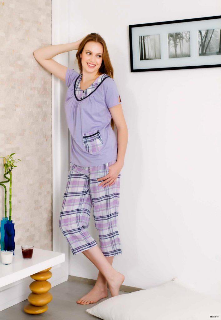 lila kareli kapri pijama modeli