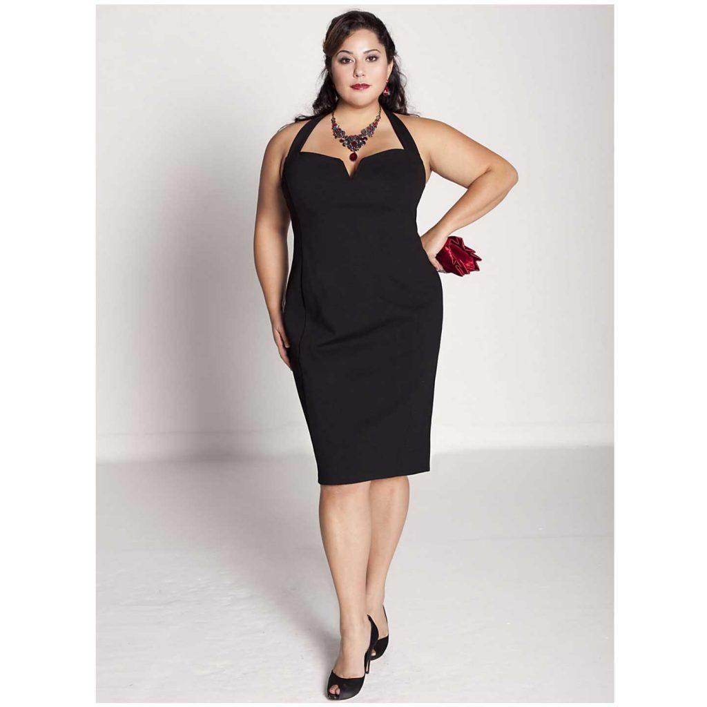 Büyük beden siyah parti elbisesi