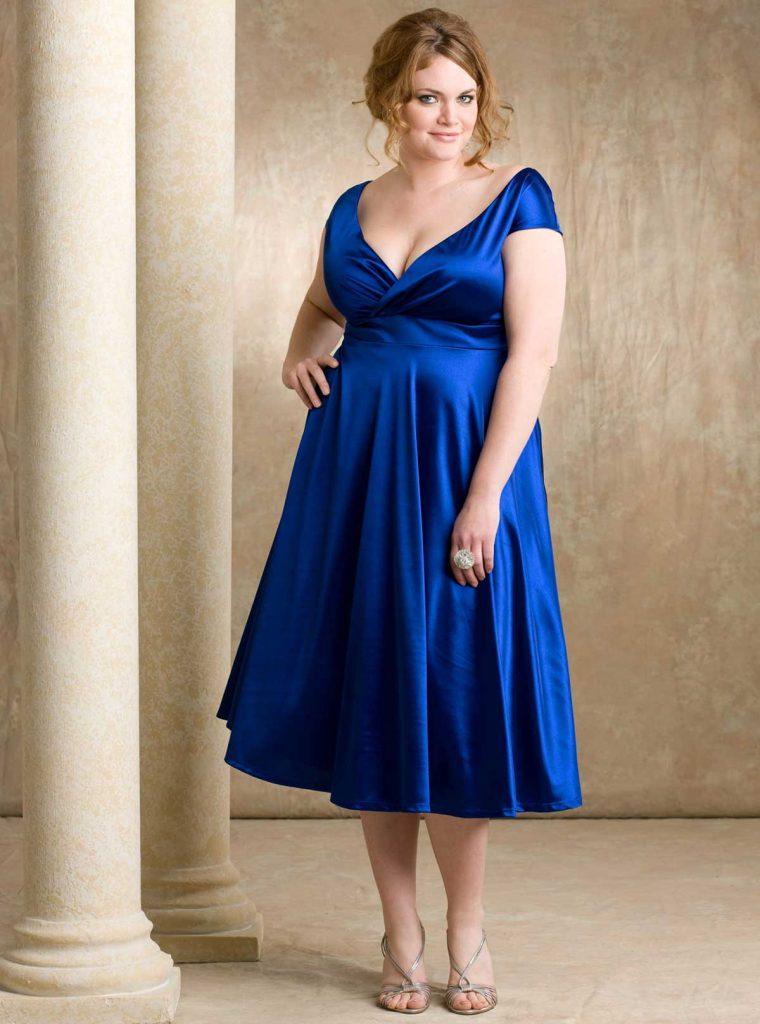Büyük beden mavi parti elbisesi