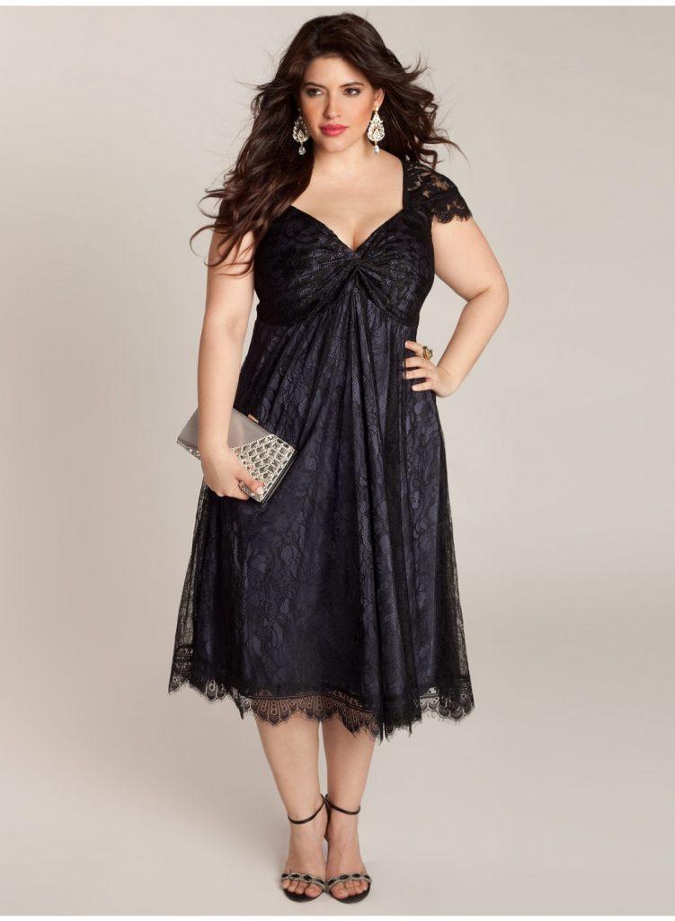 Hoş görünümlü büyük beden kokteyl elbisesi