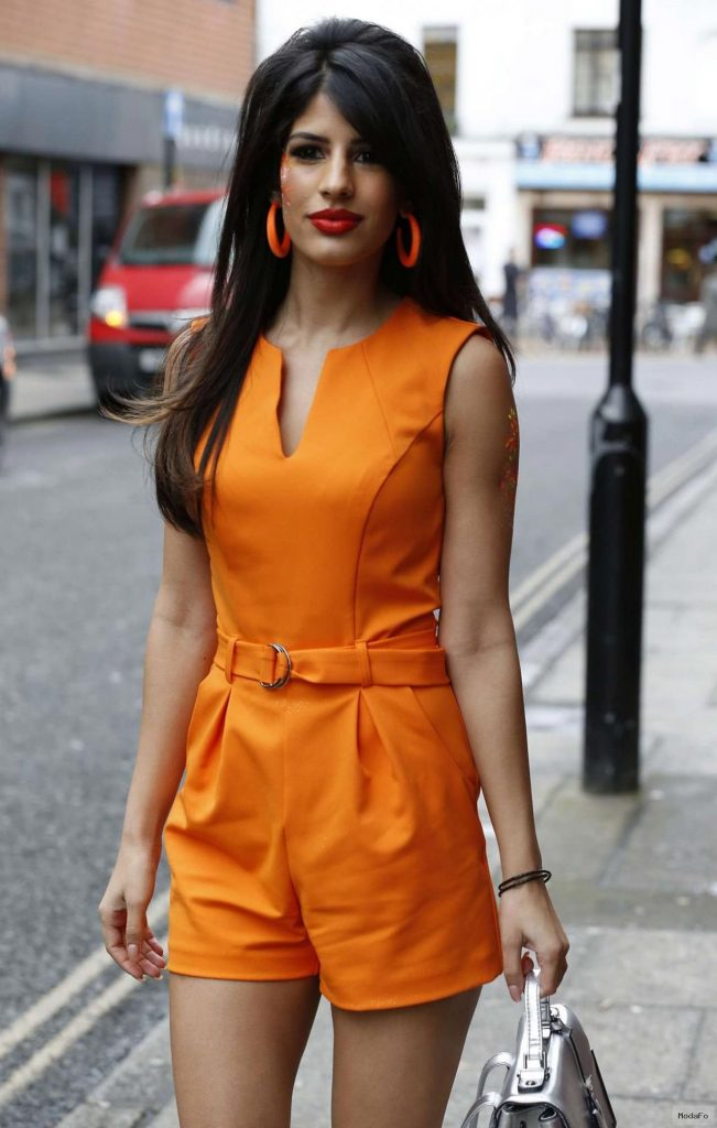 Jasmin Walia in Orange Jumpsuit – Out in Chelmsford, March 2015