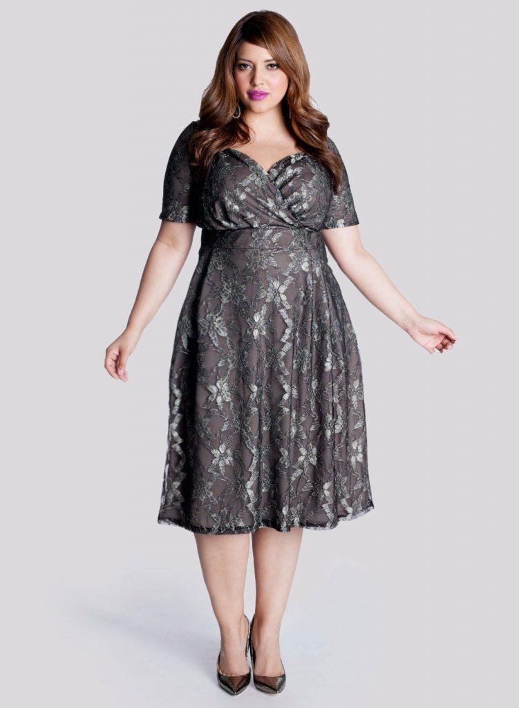 Büyük beden güpürlü kokteyl elbisesi