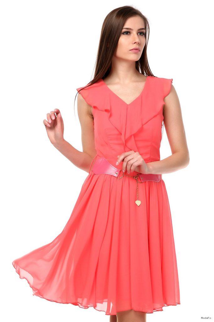 Pileli Nar Çiçeği Elbise