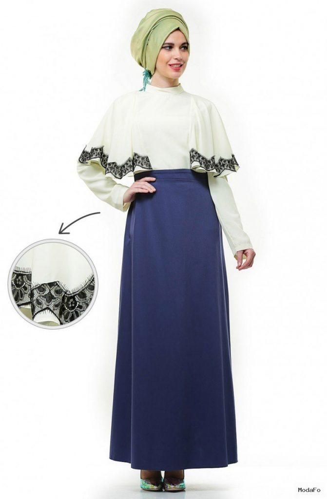 Aramiss Abiye Elbise-Sarı Saks 9036-2947 – Tesettür Giyim Modelleri