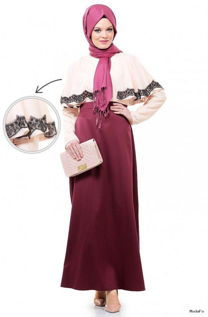 Aramiss Abiye Elbise-Somon Vişne 9036-7361 – Tesettür Giyim Modelleri