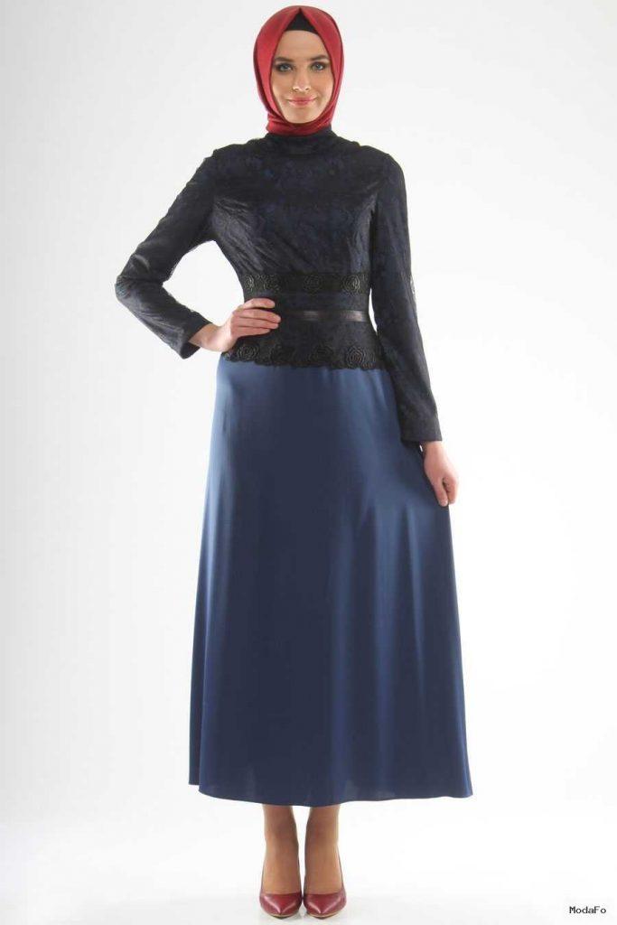 Aramiss – Üstü Dantelli Mavi Elbise – Tesetturisland.com