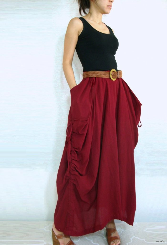 Lagenlook Maxi Skirt Big Pockets Long Skirt in Olive