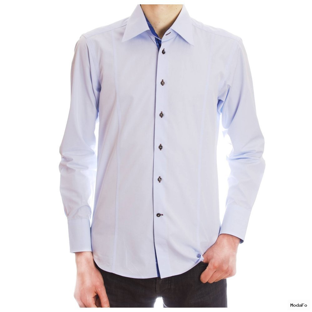 Men's pastel blue slim cut shirt with a checkered darker inner lining