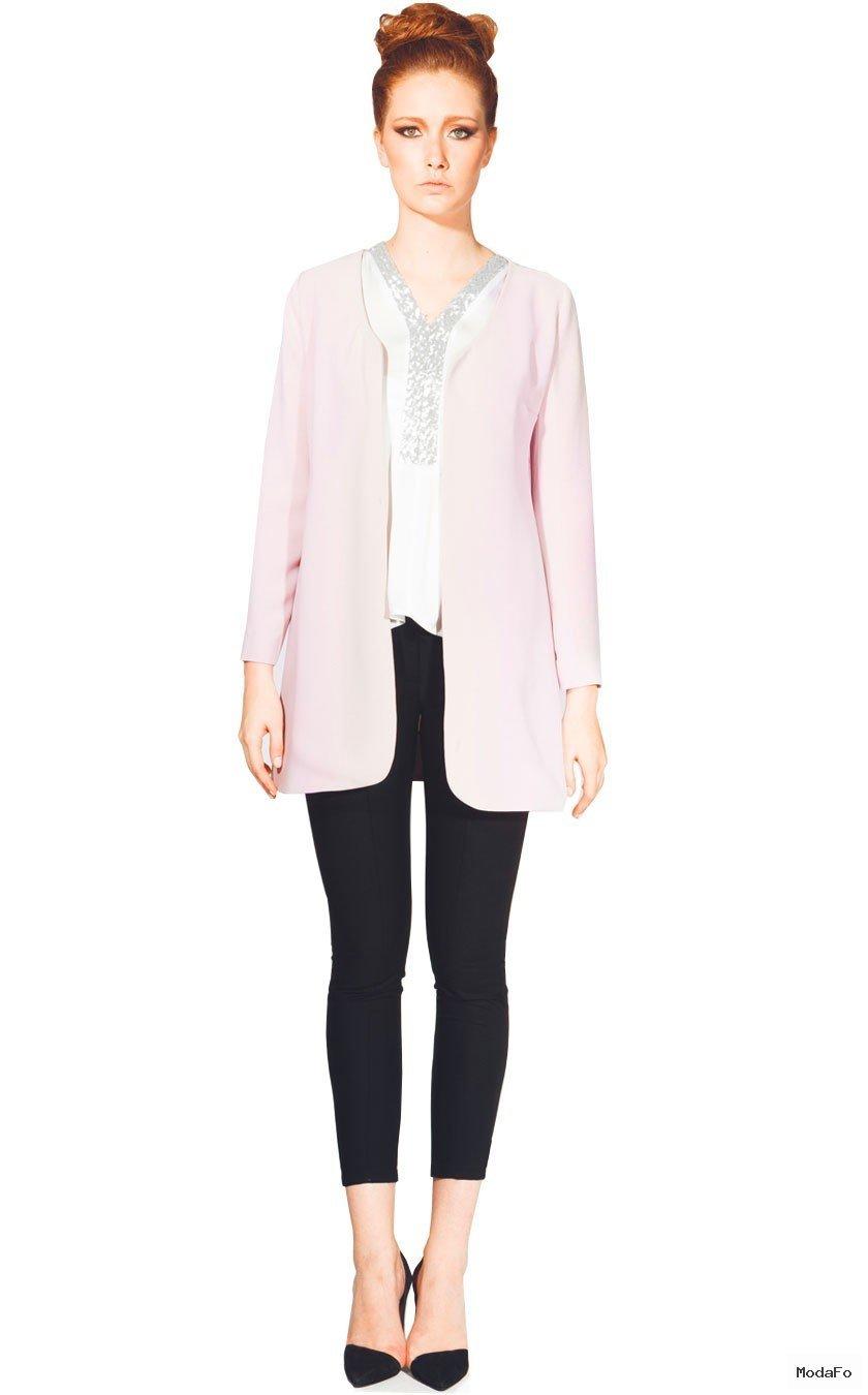 Pembe Uzun Ceket - İdeal giysiler Fazlalıkları Gizlemek Büyük kalçalı kadınlar için giyim Basenler nasıl saklanır Basen Gizleme Basen Bölümü