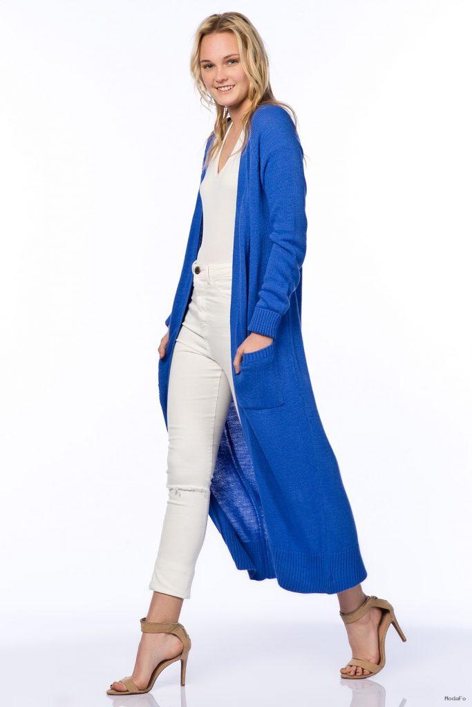 uzun mavi hırka modelleri