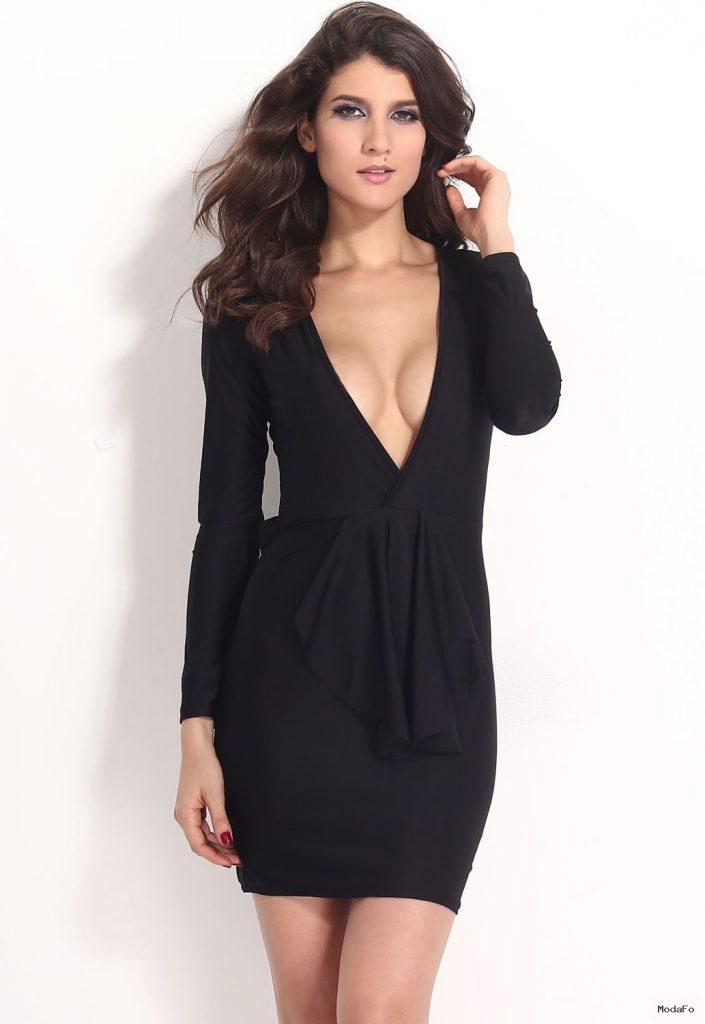 Wholesale Black Deep V-neck Draped Bodycon Dress