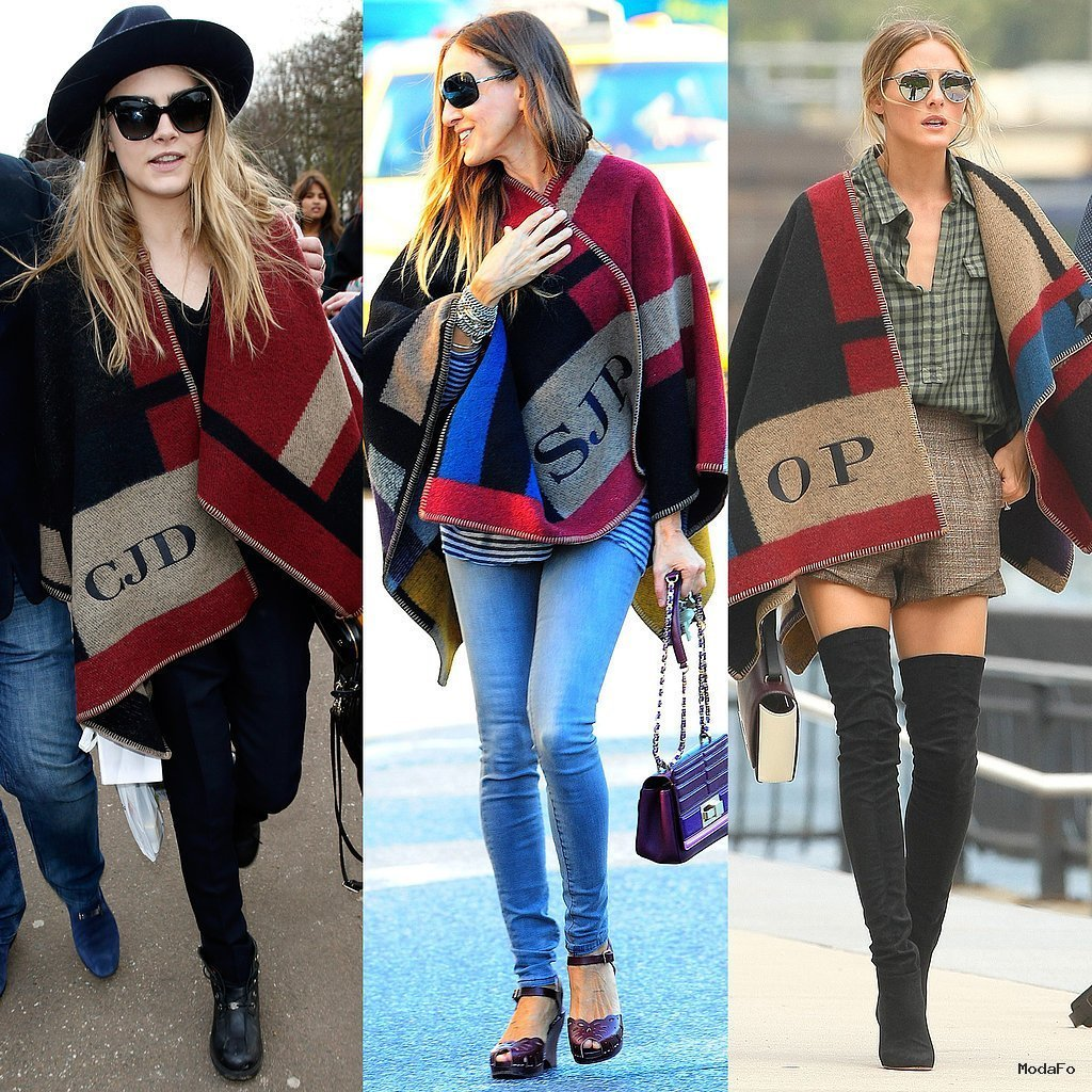 Celebrities Wearing Monogrammed Burberry Poncho | POPSUGAR Fashion
