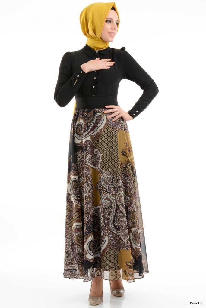 modern tesettürlü elbise modelleri