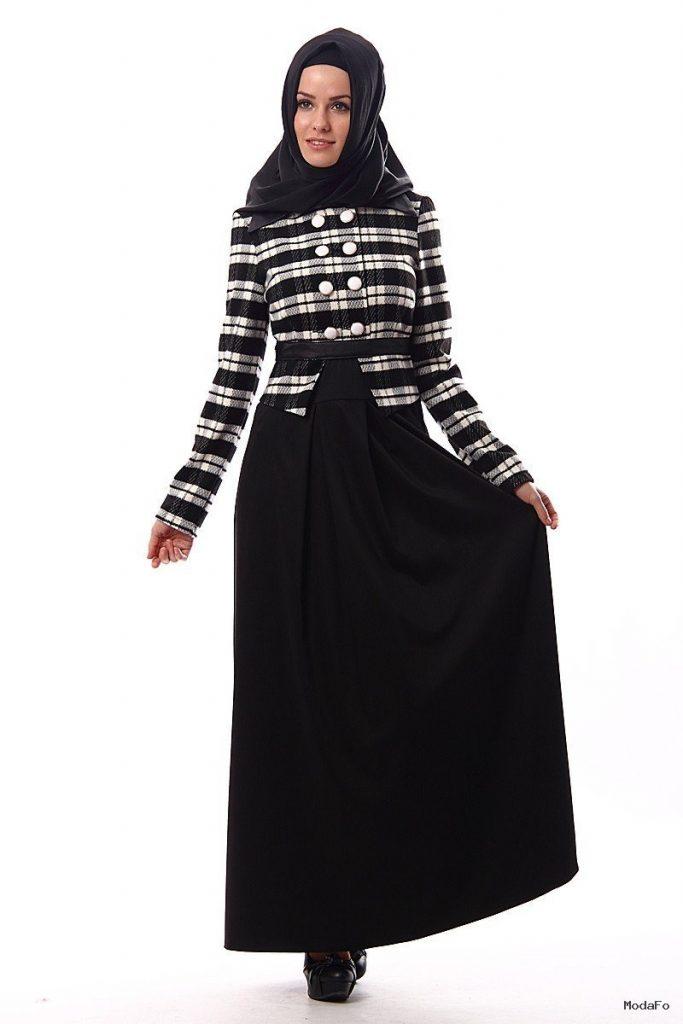 Siyah kareli 2013 modern tesettür abiye elbise modelleri – 2014 …