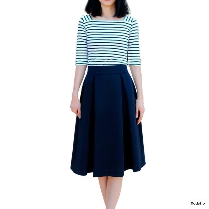 Ladies 2014 Girls High Waist Vintage Pleated Skirts New Fashion …