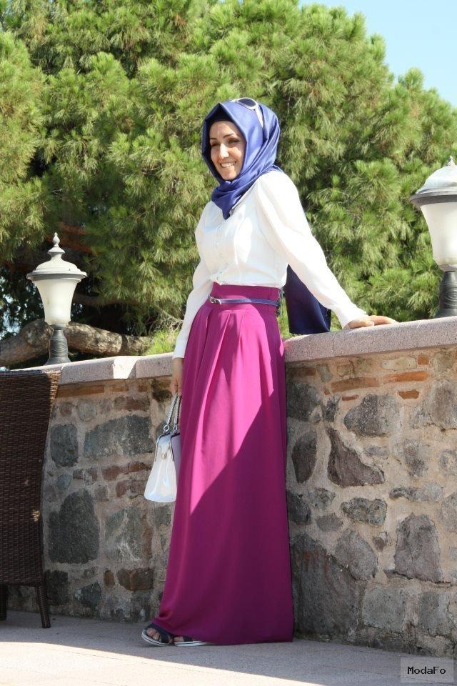 Tesettür Yüksek Belli Uzun Etek Modelleri » Elbise Modelleri