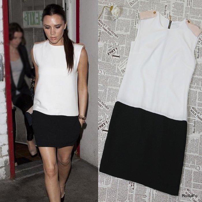 2014 Victoria Beckham Star Style Ladies' Fashion Patchwork Slim …