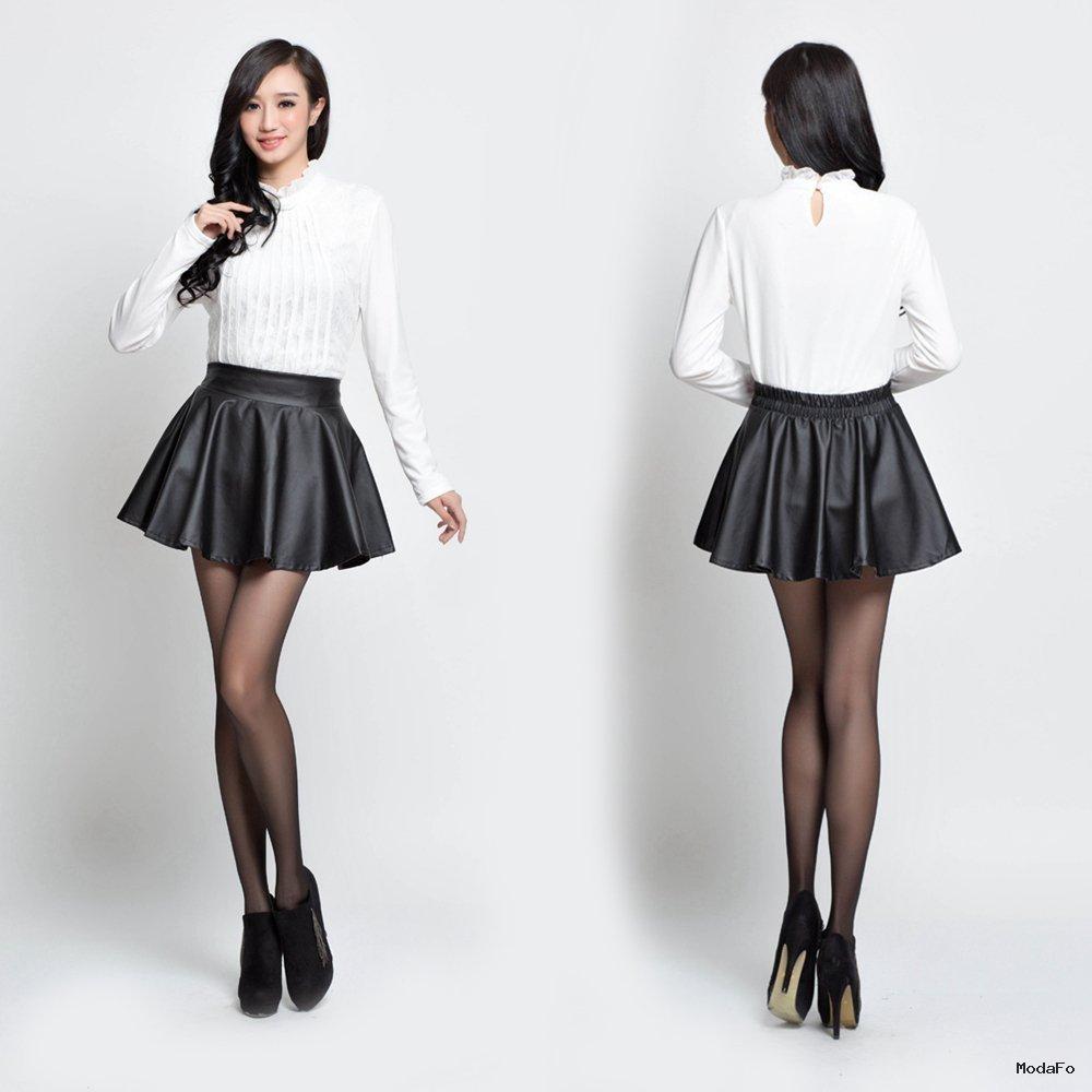 Buy women black leather skater skirt Autumn …