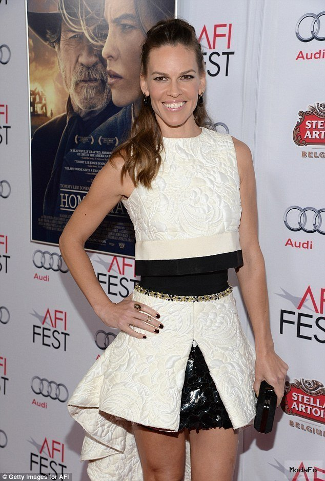 Hilary Swank in frilly ensemble at Homesman screening at the AFI …