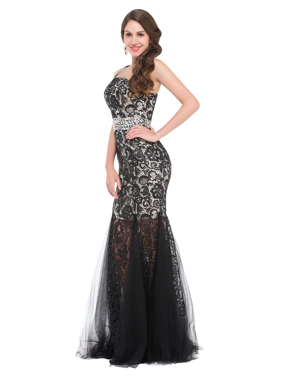 2016 En Şık Nişan Elbiseleri 2-color-long-Evening-dresses-2016-One-Shoulder-black-long-mermaid-formal-dress-Lace-Tulle-Engagement