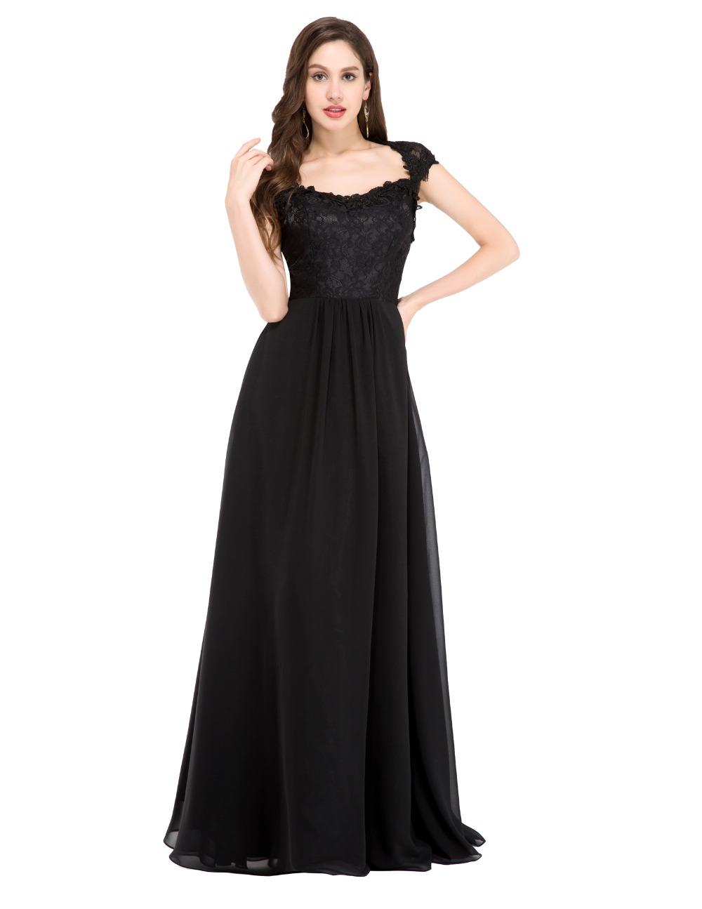 2016 En Şık Nişan Elbiseleri Long-black-font-b-lace-b-font-font-b-prom-b-font-font-b-dresses-b