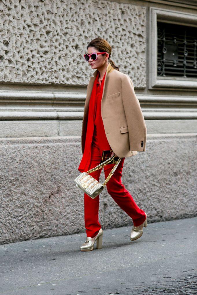 Kırmızı Kombin Önerileri 2016 - Street-Style-From-Milan-Fashion-Week-Fall-Winter-2015-2016
