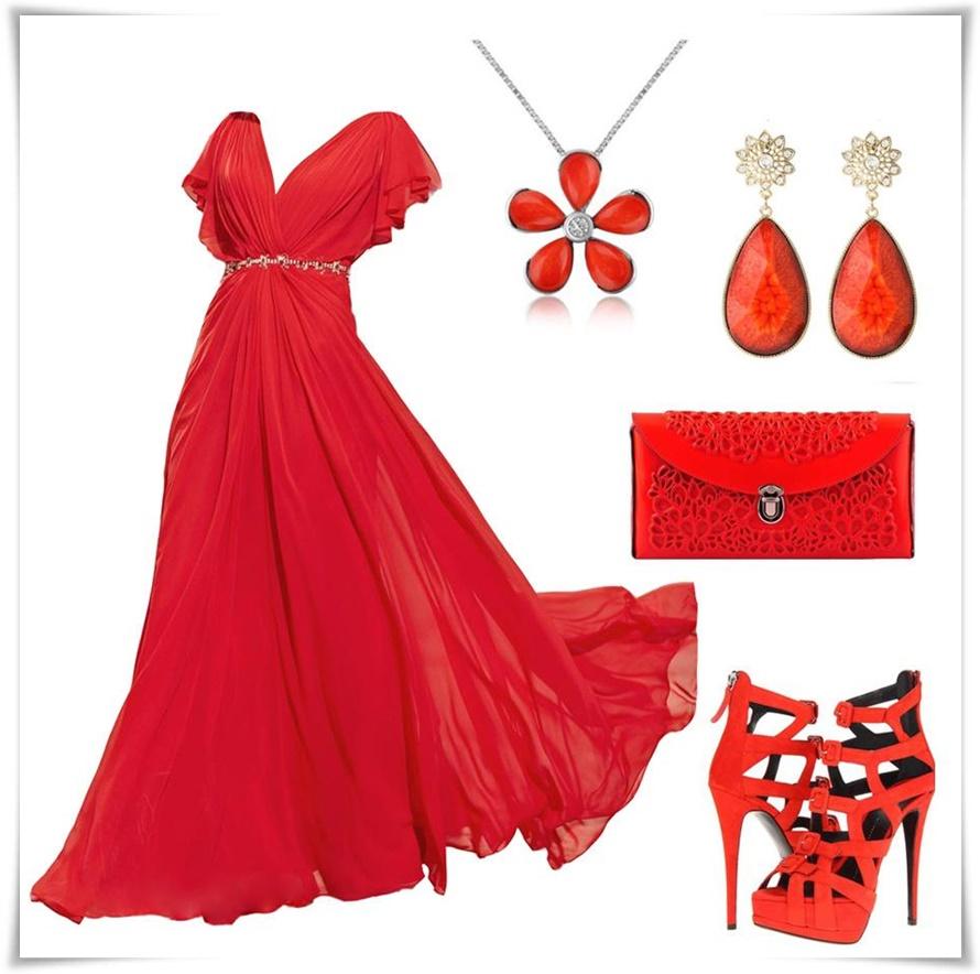 kırmızı-elbise-kombin-modeli