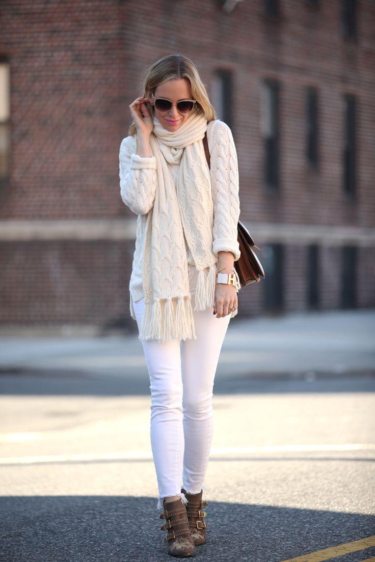 kiis-sokak-modasi-beyaz-kazak-kombinleri - moda Kış Modasında Beyaz 2016 Kış Modasında Beyaz Kullanımı