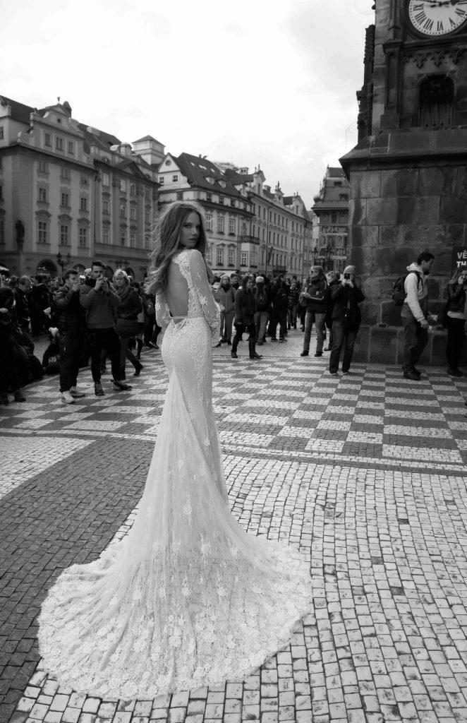 2016 Berta Sexy Deep V Neck Mermaid Wedding Dresses Lace Long …