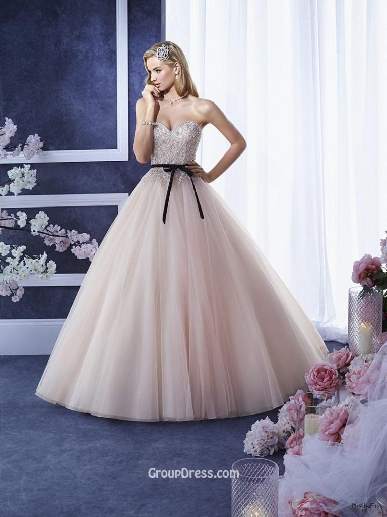 Blush Embroidered Beaded Strapless Sweetheart Ball Gown Tulle …