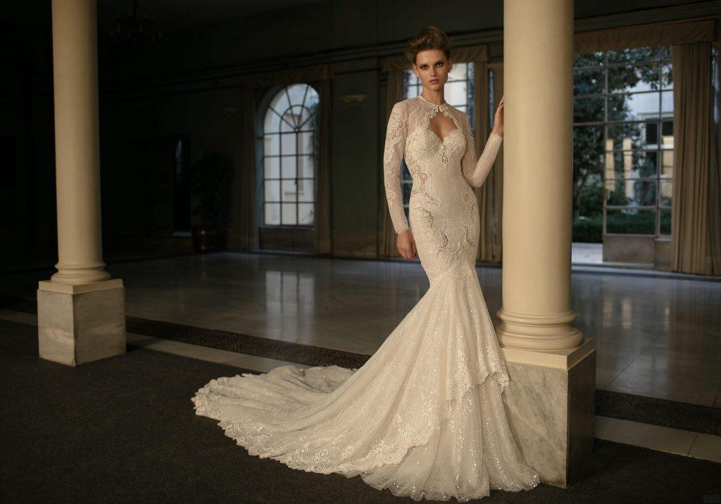 Lace Mermaid Wedding Gowns Chapel Train Berta 2016 Jewel Neckline …