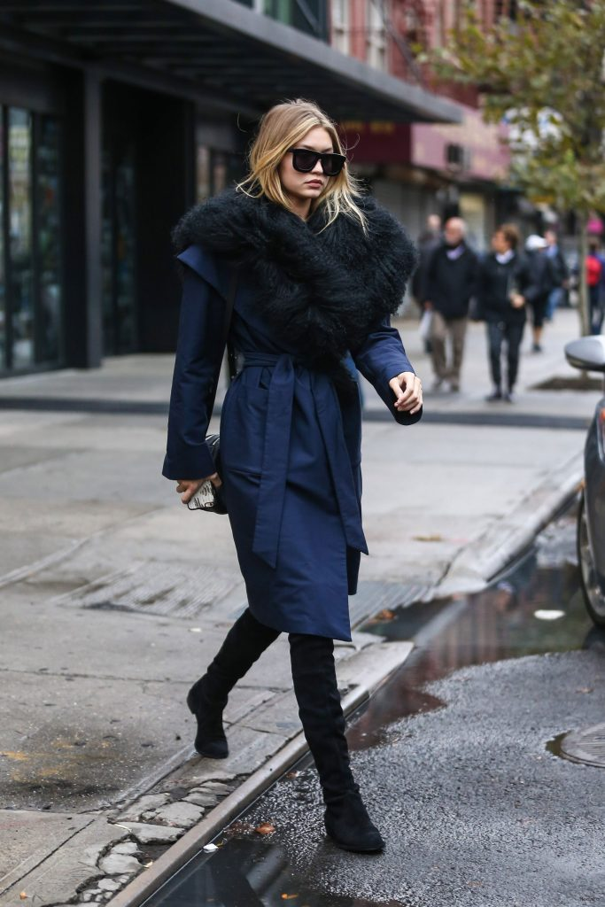 Gigi Hadid in the Statement-Collar Coat – Vogue