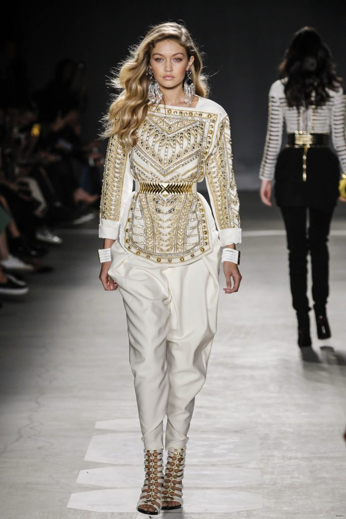 Gigi Hadid walks the Runway at the BALMAIN X H&M Collection Launch …
