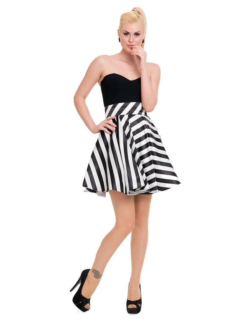 Siyah-Beyaz Mini Straplez Mezuniyet Elbisesi F5545