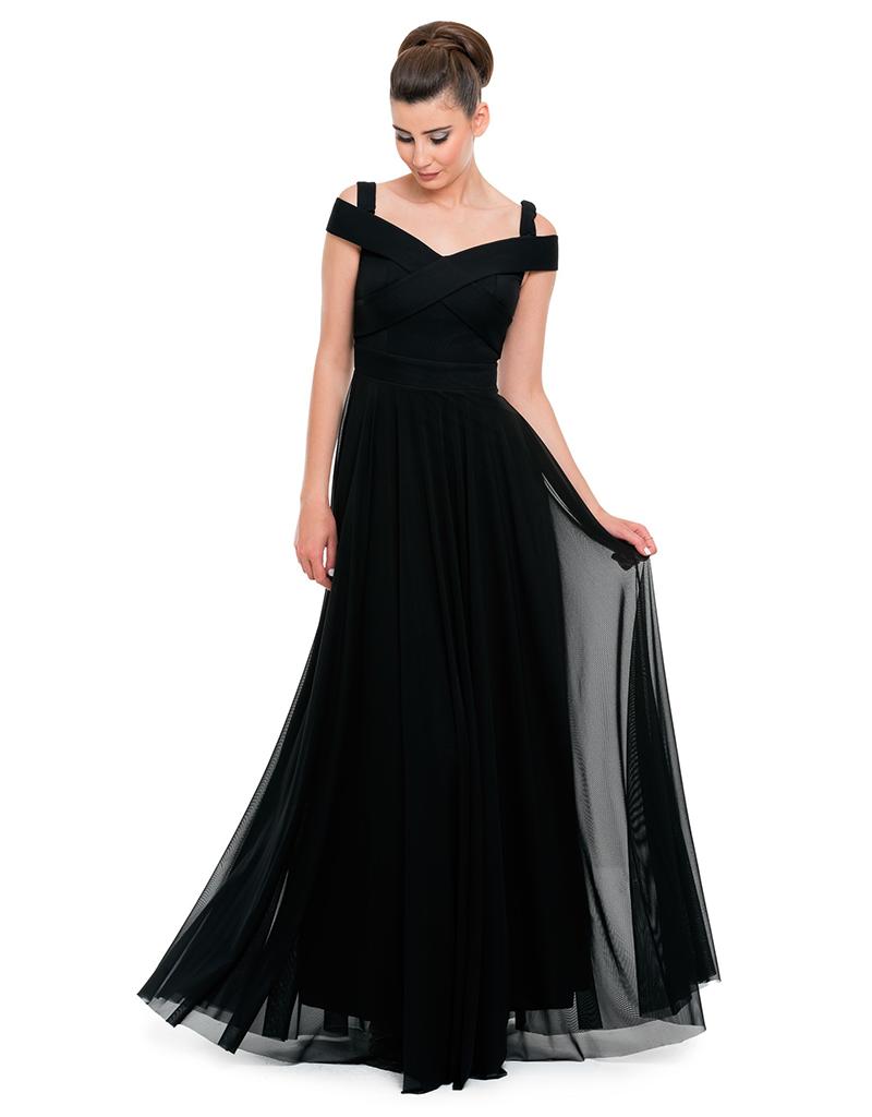 Siyah Uzun Tül Abiye Elbise AN1163
